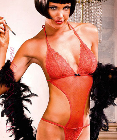 Ritzy Red Translucent Fishnet Teddy | Stunning Lingerie
