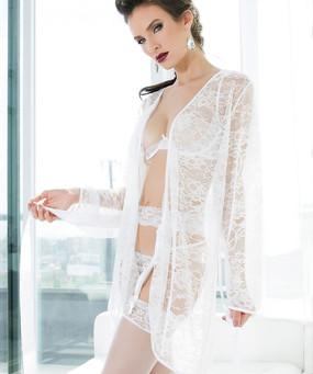 Bridal White Stretch Lace Robe