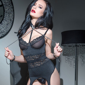 Black Bustier with Chain Restraints Online Spellbound