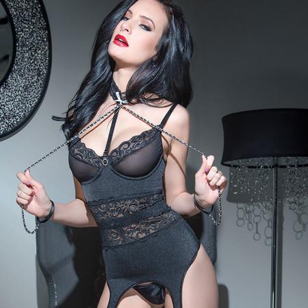 Black Bustier with Chain Restraints Online Spellbound