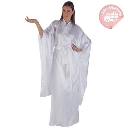 KabukiU Kimono 3 Piece Gift Set - White Silky Charmeuse