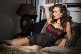 Midnight City 2 Pc Lycra & Mesh Babydoll with G-String Red Online | Coquette