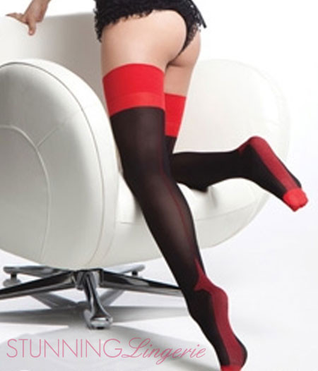 Foxy Tango Contrast Thigh High Stockings
