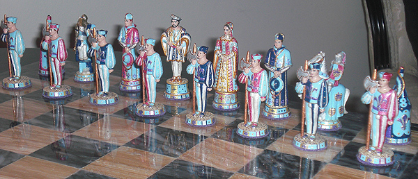 Cloth of Gold Chess Set with Francis I side.