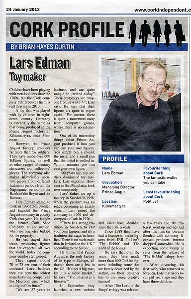 Lars Edman Profile in corkindependant newspaper on 24-1-2013