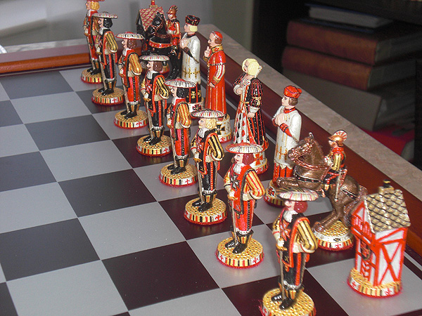 The Three Musketeers Chess set painted by J. Lubinski