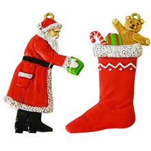 Santa Claus and Christmas Stocking painted.