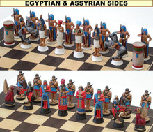 Hand Painted Pewter Egyptian Chess Set