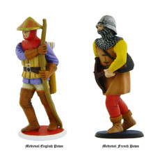 Medieval Chess Pawns for English and French sides.