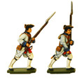 PA3114 Seven Years War France: Fusiliers advancing & march attack in turnbacks.