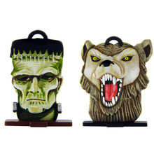 Halloween Frankenstein Monster and Werewolf heads