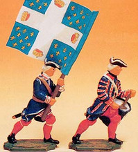 French Regiments 1750 Drummer and Standard Bearer
