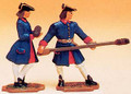 French Regiment 1750 2 Artillery Men - Gunner carrying round & ramrod