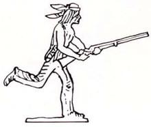 Indian (Native American) running with gun