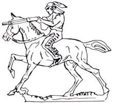 Indian on horse firing gun