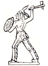 Indian ( Native American ) running with tomahawk