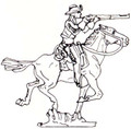 Cowboy riding horse firing gun