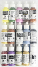 large paint pack of 17ml bottles of acrylic paints and 3 paint brushes
