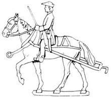 18th Century Artillery limber horse with rider
