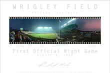 The first official night game at Wrigley Field on August 9, 1988. Never before had there been a night game, yes they tried on 8/8/88 but it was rained out. Chicago Cubs history! The poster is printed on fine art paper to the exacting specifications of the artist and shipped in a tube for protection.