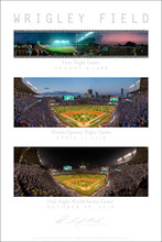 All three night panoramic photographs at Wrigley Field in Chicago, Illinois. The First Night Game on 8/9/88 taken from a rooftop, Opening Day of the historic 2016 season and the First World Series Night Game ever at Wrigley Field. These fine art prints are printed to the exacting standards of the artist Richard Mack on archival paper.