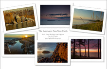 A set of 12 note cards with images from The Sweetwater Seas Collection on the Great Lakes. Beautiful photographs of Lake Michigan and Lake Superior. Two note cards of each image with envelopes. Printed on fine art paper stock.