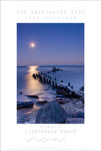 """This poster is from The Sweetwater Seas collection of work From Lake Michigan. It is Richard Mack's favorite beach in Evanston, Lighthouse Beach. It captures the beautiful and winter look from this one location along Lake Michigan. This stunning 24""""x36"""" print is done on archival paper and ready to frame. Also available in 18x24"""" size."""