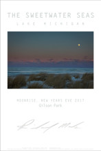 """This Fine Art Poster is from The Sweetwater Seas collection of work From Lake Michigan. Done New Year's Eve 2017 it captures the beautiful and winter look from this location along Lake Michigan. This stunning 24""""x36"""" print is done on archival paper and ready to frame. Also available in 18x24"""" size."""