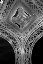 Under the Eiffel Tower. Black and white image.