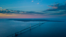 Evening over the Mackinac Bridge. Part of the documentary The Sweetwater Seas / Great Lakes Collection. Fine art print on archival paper ready for framing or on an archival canvas wrap printed to the exacting standards of the artist.