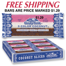 PRICE MARKED 2.25 oz 3 Color Coconut Bars          24 count tray