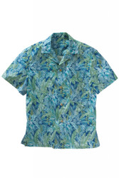Tropical Leaf Print Camp Shirt