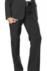 Women's Flat Front Pinstripe Poly/Wool Pant