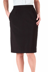 Women's Poly Straight Skirt w/ Elastic Back (Pockets)