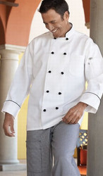 "Unisex ""Barcelona"" Chef Coat w/ Black Piping"