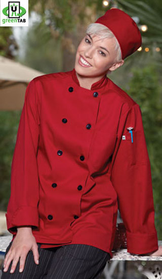 Red Chef Coat with Black Buttons