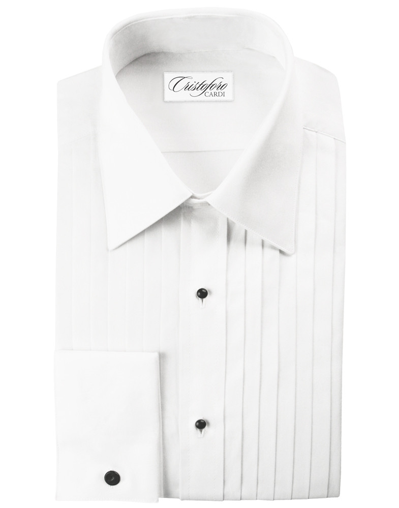 NEW Microfiber Ivory Tuxedo Shirt /'Laydown Collar/' Non pleat