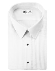 "Microfiber White Formal Shirt (Laydown, 1/4"" Pleat)"