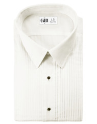 "Microfiber Ivory Formal Shirt (Laydown, 1/4"" Pleat)"
