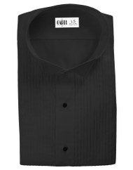 "Microfiber Black Formal Shirt (Wingtip, 1/4"" Pleats)"
