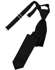 Solid Satin Skinny Long Tie (Pre-Tied)
