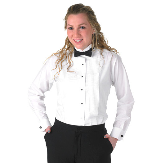 A white tuxedo shirt goes perfectly with a black tuxedo, and you can top it off with a black bow tie. Or you can be creative and choose another color to complement your outfit. This can be one of many colors, which is why shirts are so versatile to use.