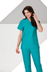 Ladies Basic 2 Pocket Scrub Top