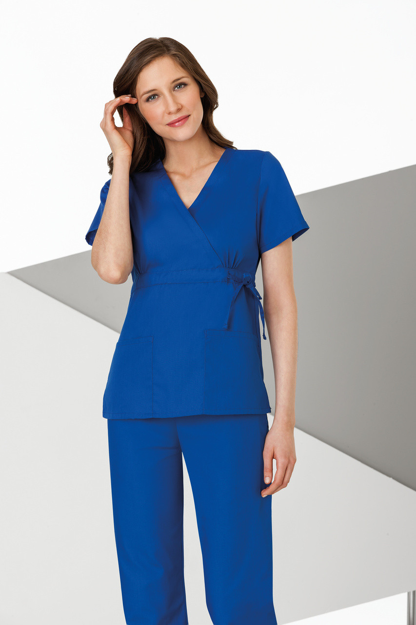 Mock Wrap Scrub Top With Adjustable Tie Belt Tips Uniforms