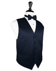 Midnight Blue Solid Satin Vest