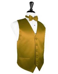 New Gold Solid Satin Vest