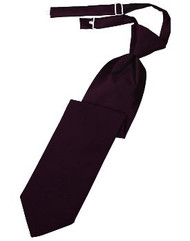 Berry Solid Satin Long Tie