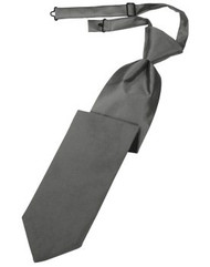 Charcoal Solid Satin Long Tie