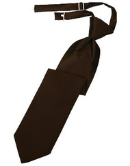 Chocolate Solid Satin Long Tie