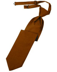 Cognac Solid Satin Long Tie